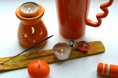 Πορτοκαλιά αντικείμενα aromatherapy Στοκ Εικόνα