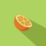 Πορτοκαλιά απεικόνιση σχεδίου φρούτων διανυσματική επίπεδη Στοκ Φωτογραφία