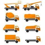 Πορτοκαλιά αυτοκίνητα κατασκευής, βιομηχανικό φορτηγό συλλογής, αυτοκίνητα τύπων, καθορισμένα οχήματα εικονιδίων διανυσματική απεικόνιση