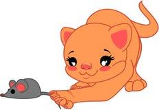 Πορτοκαλιά γάτα κινούμενων σχεδίων και ένα ποντίκι Στοκ φωτογραφία με δικαίωμα ελεύθερης χρήσης