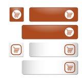 Πορτοκαλιά και άσπρα τετραγωνικά και ορθογώνια κουμπιά με το κάρρο αγορών Στοκ φωτογραφία με δικαίωμα ελεύθερης χρήσης
