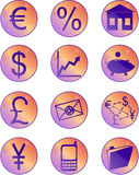 Πορτοκαλιά και πορφυρά οικονομικά κουμπιά και εικονίδια Στοκ Φωτογραφία