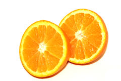 Πορτοκαλιά κομμάτια στο άσπρο υπόβαθρο Στοκ Εικόνα