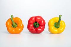 Πορτοκαλιά, κόκκινα και κίτρινα πιπέρια στο άσπρο υπόβαθρο Στοκ Εικόνα