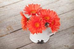 Πορτοκαλιά λουλούδια gerbera στη στάμνα στοκ φωτογραφία με δικαίωμα ελεύθερης χρήσης