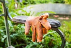 Πορτοκαλιά πλαστικά γάντια στην καρέκλα βραχιόνων στο πάρκο Στοκ εικόνες με δικαίωμα ελεύθερης χρήσης