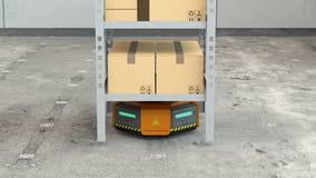 Πορτοκαλιά ρομπότ που φέρνουν τις παλέτες με τα αγαθά στη σύγχρονη αποθήκη εμπορευμάτων
