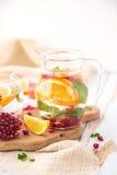 Πορτοκαλιά ρόδι γκρέιπφρουτ και νερό Detox μεντών Στοκ Φωτογραφίες