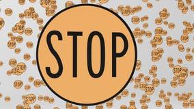 Πορτοκαλιά σημάδια κυκλοφορίας στάσεων που επιπλέουν στο άσπρο διάστημα ελεύθερη απεικόνιση δικαιώματος