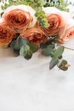 Πορτοκαλιά τριαντάφυλλα και διακοσμητικοί κλάδοι στο άσπρο κατασκευασμένο backgroun Στοκ εικόνες με δικαίωμα ελεύθερης χρήσης