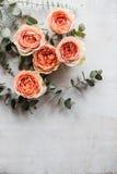 Πορτοκαλιά τριαντάφυλλα και διακοσμητικοί κλάδοι στο άσπρο κατασκευασμένο backgroun Στοκ Φωτογραφίες