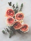 Πορτοκαλιά τριαντάφυλλα και διακοσμητικοί κλάδοι στο άσπρο κατασκευασμένο backgroun Στοκ Φωτογραφία