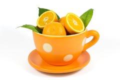 Πορτοκαλιά φρούτα με τα πράσινα φύλλα στο κεραμικό κύπελλο που απομονώνεται στο λευκό Στοκ φωτογραφία με δικαίωμα ελεύθερης χρήσης