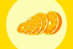 Πορτοκαλιά ώριμη φέτα κύκλων αντικειμένου διανυσματική απεικόνιση