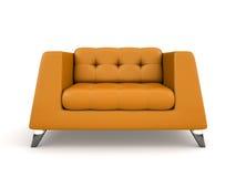 Πορτοκαλιά lather πολυθρόνα που απομονώνεται στην άσπρη τρισδιάστατη απόδοση υποβάθρου διανυσματική απεικόνιση