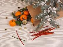 Πορτοκαλιά tangerines κοντά στα χειμερινά δέντρα απομονωμένη Χριστούγεννα διάθεση τρία σφαιρών λευκό Στοκ φωτογραφίες με δικαίωμα ελεύθερης χρήσης