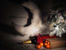Πορτοκαλιά tangerines κοντά στα χειμερινά δέντρα απομονωμένη Χριστούγεννα διάθεση τρία σφαιρών λευκό Στοκ εικόνα με δικαίωμα ελεύθερης χρήσης