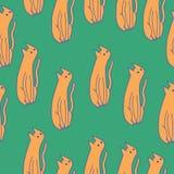 Πορτοκαλιές γάτες στο πράσινο υπόβαθρο Συρμένο χέρι διανυσματικό άνευ ραφής patt Στοκ φωτογραφία με δικαίωμα ελεύθερης χρήσης