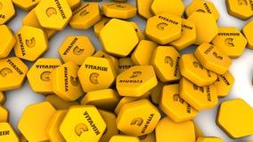 Πορτοκαλιές εξαγωνικές ταμπλέτες βιταμίνης C Στοκ Φωτογραφία