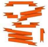 Πορτοκαλιές διανυσματικές κορδέλλες καθορισμένες Στοκ φωτογραφία με δικαίωμα ελεύθερης χρήσης