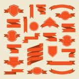Πορτοκαλιές κορδέλλες και ετικέτα που τίθενται στο επίπεδο ύφος Στοκ Φωτογραφία