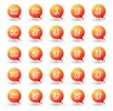 Πορτοκαλιές τριγωνικές ετικέτες πώλησης καθορισμένες, διάνυσμα Eps10 Στοκ Εικόνες