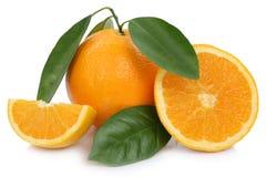 Πορτοκαλιές φέτες πορτοκαλιών φρούτων με τα φύλλα που απομονώνονται στο λευκό Στοκ εικόνες με δικαίωμα ελεύθερης χρήσης
