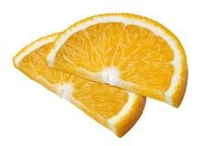 2 πορτοκαλιές φέτες που απομονώνονται στο άσπρο υπόβαθρο Στοκ Φωτογραφία