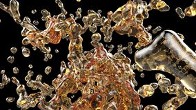 Πορτοκαλιοί παφλασμοί νερού στο μαύρο υπόβαθρο τρισδιάστατο illustraton διανυσματική απεικόνιση