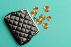 Πορτοφόλι για τα νομίσματα Πορτοφόλι για την αλλαγή Ένα πορτοφόλι δέρματος, πορτοφόλι σε ένα τυρκουάζ υπόβαθρο r Η έννοια της ένδ Στοκ Εικόνες