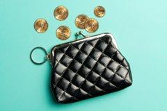 Πορτοφόλι για τα νομίσματα Πορτοφόλι για την αλλαγή Ένα πορτοφόλι δέρματος, πορτοφόλι σε ένα τυρκουάζ υπόβαθρο r Στοκ Φωτογραφία