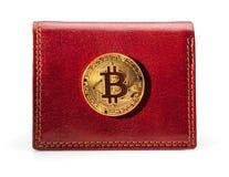 Πορτοφόλι δέρματος με το χρυσό νόμισμα bitcoin Στοκ Εικόνες
