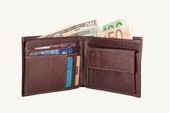 πορτοφόλι ευρώ δολαρίων Στοκ Φωτογραφία