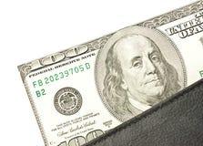 Πορτοφόλι με το δολάριο χρημάτων σε μια άσπρη ανασκόπηση Στοκ Εικόνα