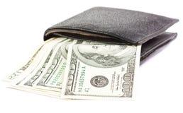 Πορτοφόλι με το δολάριο χρημάτων σε μια άσπρη ανασκόπηση Στοκ φωτογραφία με δικαίωμα ελεύθερης χρήσης