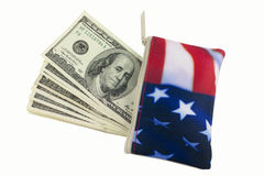 πορτοφόλι σημαιών δολαρίων 100 αμερικανικό λογαριασμών Στοκ Φωτογραφίες