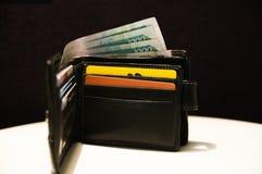 Πορτοφόλι δέρματος με τα χρήματα Στοκ Φωτογραφίες