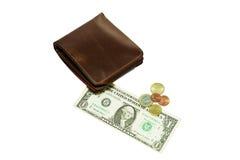 Πορτοφόλι δέρματος με το δολάριο και το ευρώ στο άσπρο υπόβαθρο Στοκ Φωτογραφία