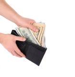 Πορτοφόλι εκμετάλλευσης χεριών με τους λογαριασμούς δολαρίων Στοκ Φωτογραφίες