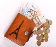 Πορτοφόλι και ευρώ δέρματος Στοκ Φωτογραφία