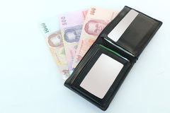 Πορτοφόλι και τραπεζογραμμάτια, (ταϊλανδικό λουτρό) Στοκ Εικόνα