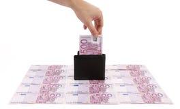 Πορτοφόλι με τα ευρο- τραπεζογραμμάτια πέντε εκατοντάδων Στοκ φωτογραφίες με δικαίωμα ελεύθερης χρήσης