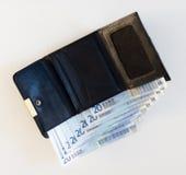 Πορτοφόλι με τα ευρώ Στοκ Φωτογραφίες