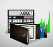 Πορτοφόλι με τα μετρητά και τις πιστωτικές κάρτες Στοκ Εικόνες
