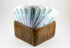 Πορτοφόλι με τα ρωσικά ρούβλια στοκ εικόνα με δικαίωμα ελεύθερης χρήσης