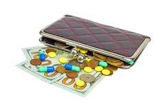 Πορτοφόλι με τα χρήματα και τα χάπια 01 Στοκ Φωτογραφίες