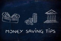 Πορτοφόλι, νομίσματα και τράπεζα: έννοια της παροχής των συμβουλών για το πώς να σώσει Στοκ Εικόνες