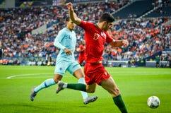 ΠΟΡΤΟ, PORTUGLAL - 9 Ιουνίου 2019: Ποδοσφαιριστής κατά τη διάρκεια του αγώνα τελικών ένωσης εθνών UEFA μεταξύ της εθνικής ομάδας  στοκ φωτογραφίες