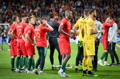 ΠΟΡΤΟ, PORTUGLAL - 9 Ιουνίου 2019: Ποδοσφαιριστής της Πορτογαλίας κατά τη διάρκεια του αγώνα τελικών ένωσης εθνών UEFA μεταξύ της στοκ φωτογραφία με δικαίωμα ελεύθερης χρήσης
