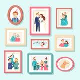 Πορτρέτα οικογενειακών μελών Γαμήλια φωτογραφία στο πλαίσιο, πορτρέτο ζευγών Χαμογελώντας φωτογραφίες συζύγων, συζύγων και παιδιώ ελεύθερη απεικόνιση δικαιώματος